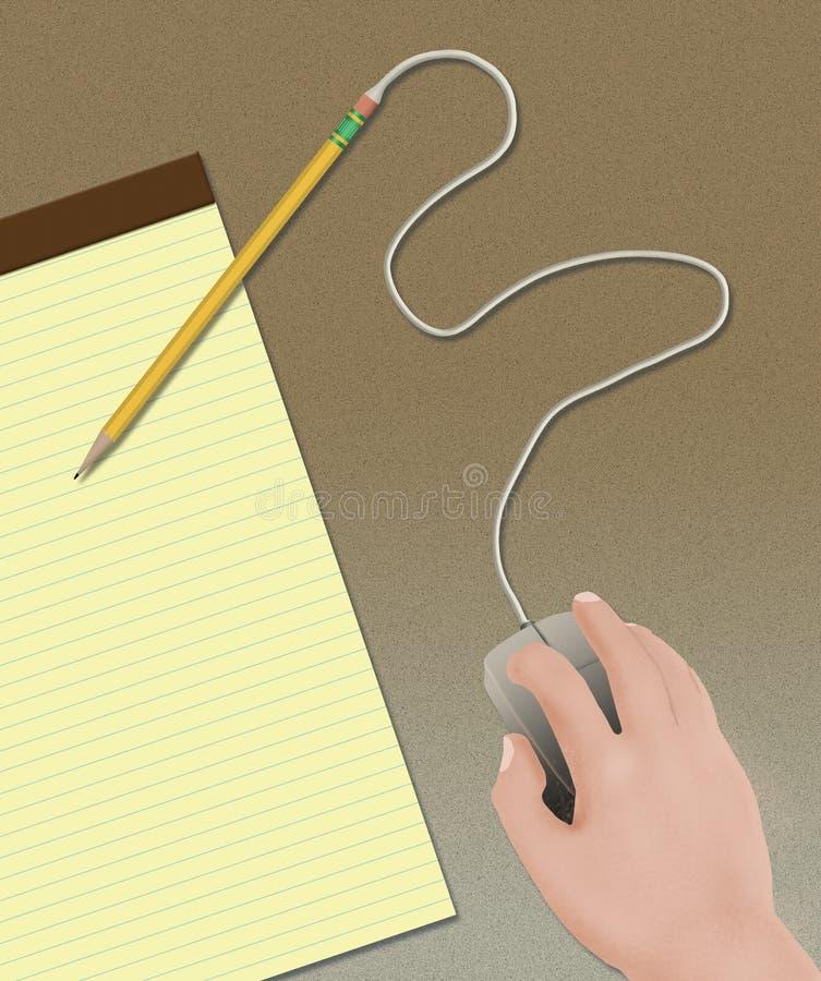 Osoby ręka działa komputerowej myszy dołączającej ołówek w ilustracji o starych sposobach vs nowa technologia ilustracji