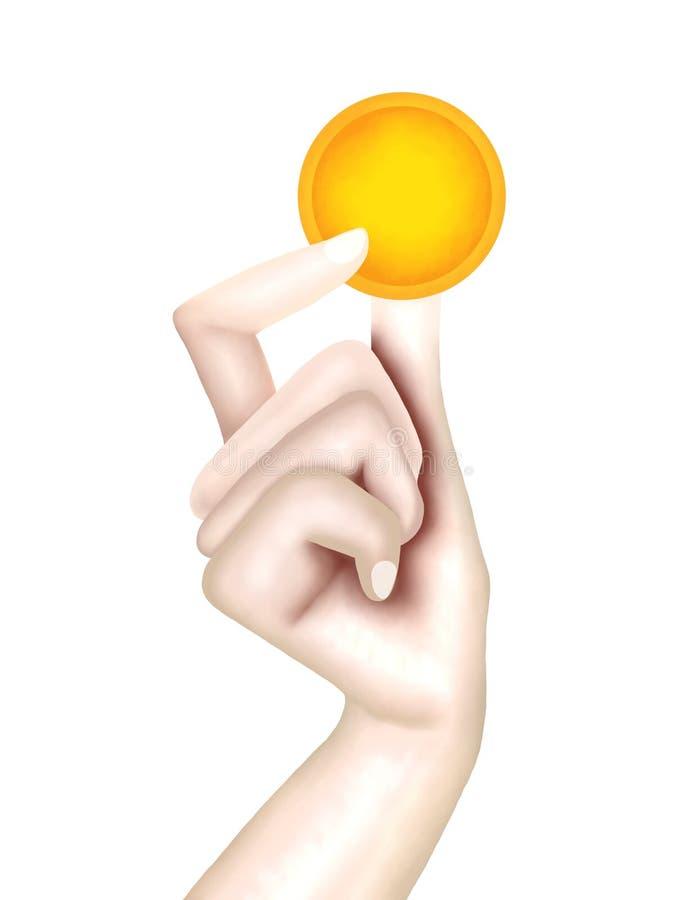 Osoby ręka Trzyma Złotą monetę zdjęcia royalty free