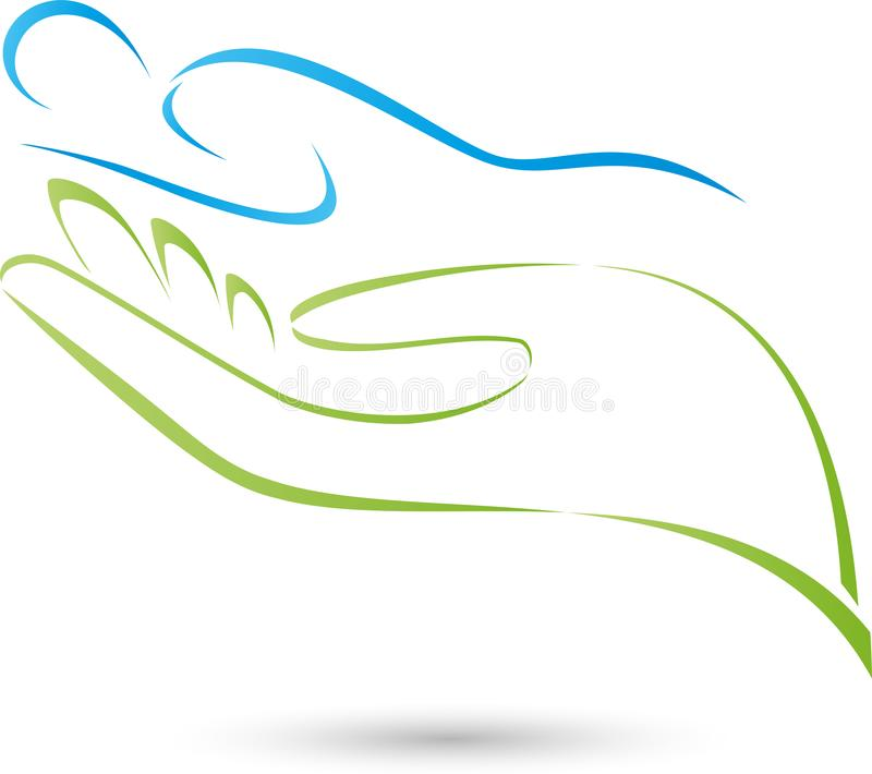 Osoby, ręki, masażu i fizjoterapii logo, ilustracji