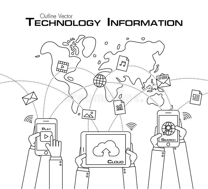 Osoby use telefon i pastylka dzielić dane ilustracja wektor