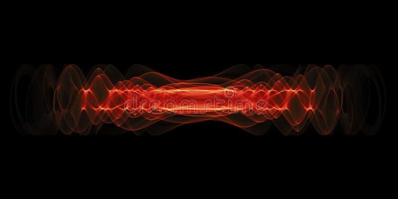 Osocza lub wysokiej energii siły pojęcie Purpury energii rozjarzone fala odizolowywać nad czarnym tłem ilustracji