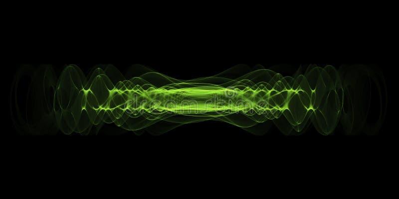 Osocza lub wysokiej energii siły pojęcie Zielone rozjarzone energii fala odizolowywać nad czarnym tłem ilustracja wektor