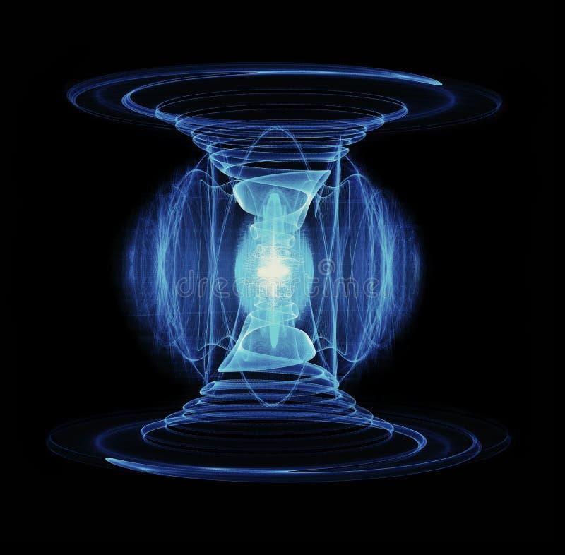 Osocze przepływ Przez Dwoistego spirala drutu inscenizowania wysokiej energii cząsteczki rozładowania ilustracja wektor