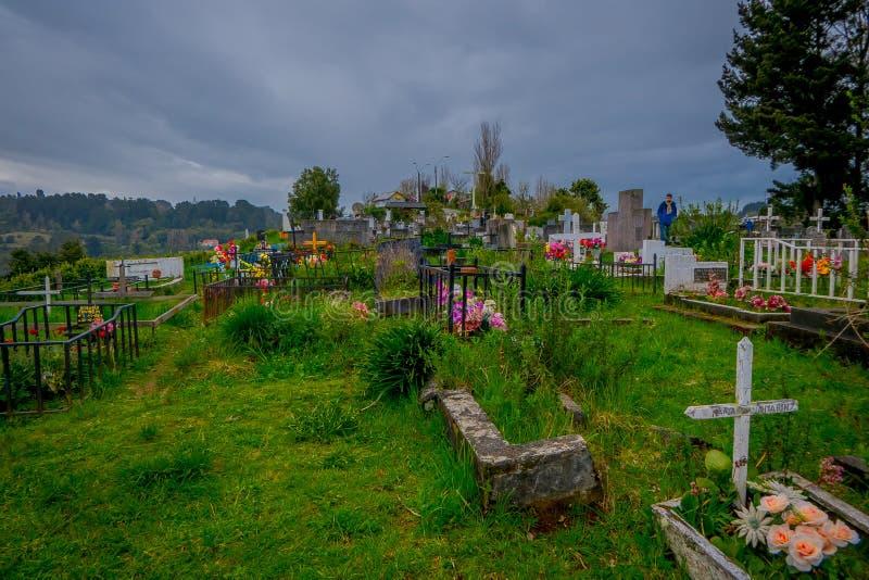 OSORNO, CHILE, SEPTEMBER, 23, 2018: Schöne Ansicht vom Kirchhof von Puerto Octay, Chile stockfotografie