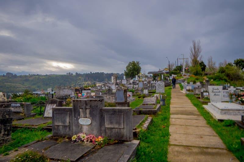 OSORNO, CHILI, 23 SEPTEMBER, 2018: Mooie mening van de begraafplaats van Puerto Octay, Chili stock fotografie