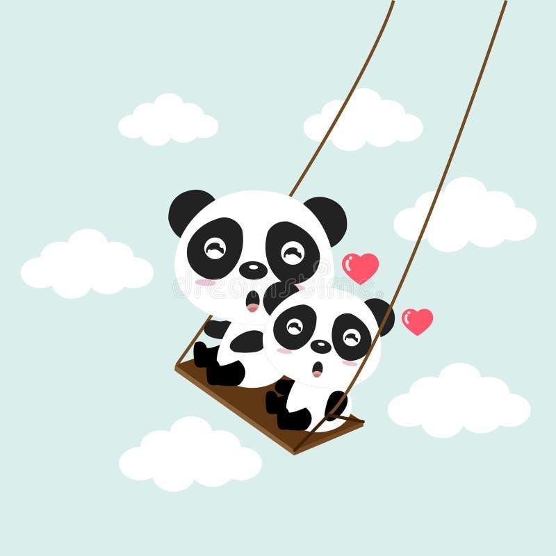 Osos de panda felices que montan en un oscilación ilustración del vector