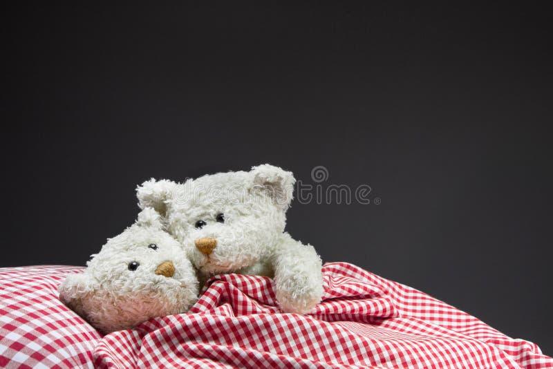 Osos de peluche que abrazan en la cama. fotos de archivo