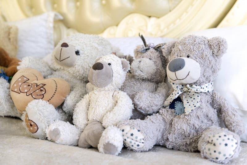 4 osos del juguete sientan, llevan el cachorro, cachorro, pequeño oso fotos de archivo libres de regalías
