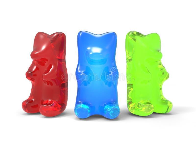 Osos gomosos tricolores stock de ilustración