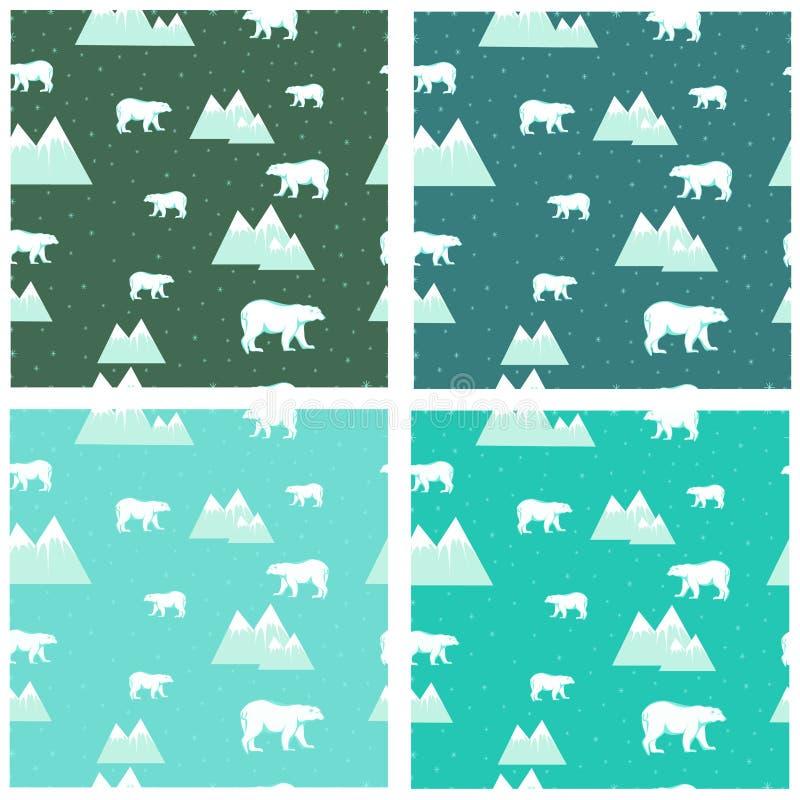4 osos polares coloridos e icebergs de los fondos inconsútiles ilustración del vector