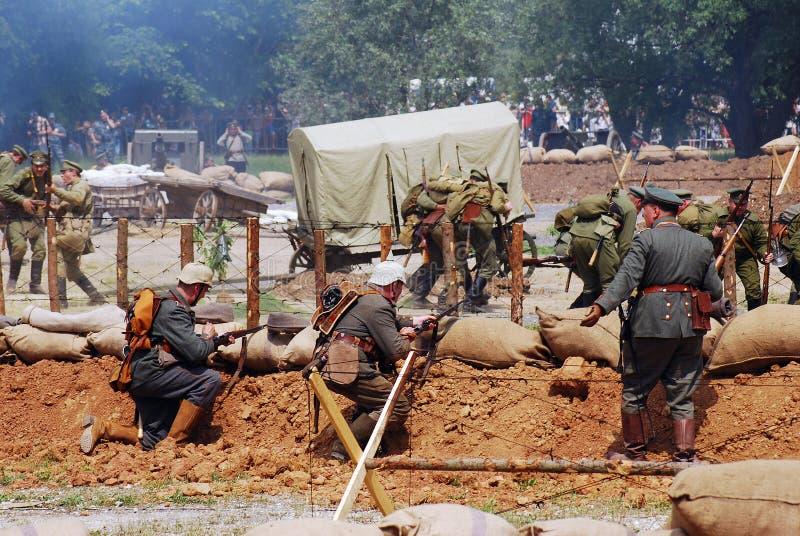 Osovets battle reenactment royalty free stock photography
