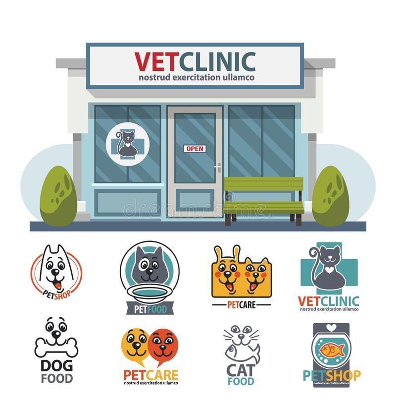 Ospedale della medicina veterinaria, clinica o negozio di animali per gli animali illustrazione vettoriale