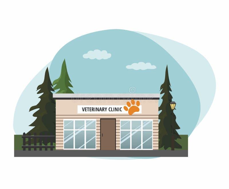 Ospedale della medicina veterinaria, clinica o negozio di animali per gli animali Vista esteriore della facciata illustrazione di stock
