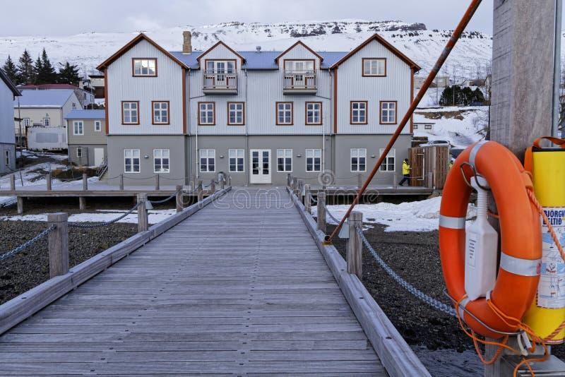 Ospedale francese in Faskrudsfjordur immagine stock libera da diritti