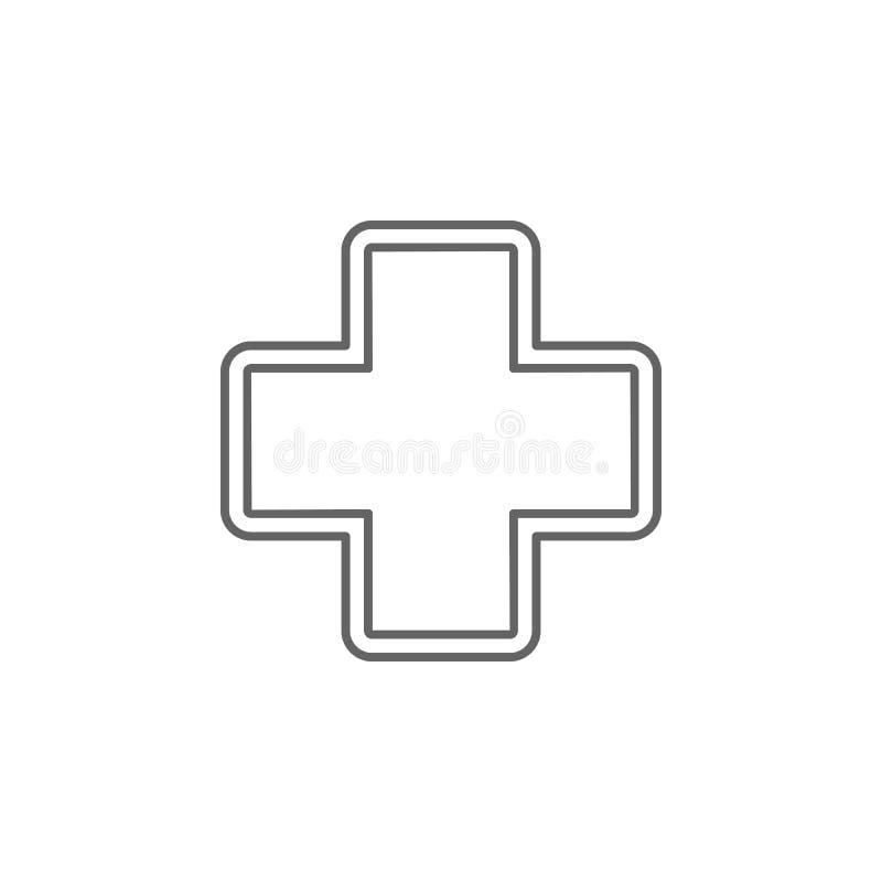 Ospedale, icona dei segni Icona elemento della medicina Icona linea sottile illustrazione vettoriale
