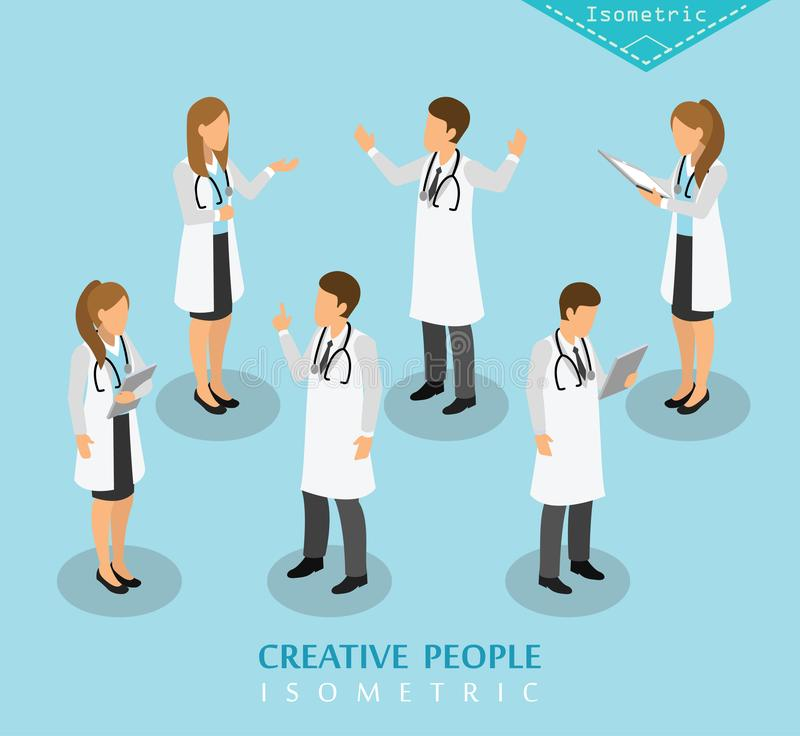 Ospedale isometrico e assistenza medica della gente illustrazione di stock