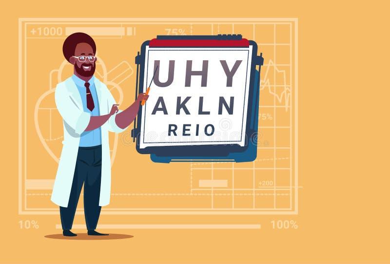 Ospedale medico afroamericano del lavoratore delle cliniche dell'oculista del dottore Ophthalmologist With Vision Test illustrazione vettoriale