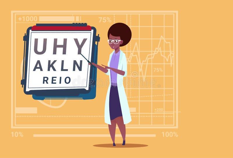 Ospedale medico afroamericano femminile del lavoratore delle cliniche dell'oculista del dottore Ophthalmologist With Vision Test illustrazione di stock