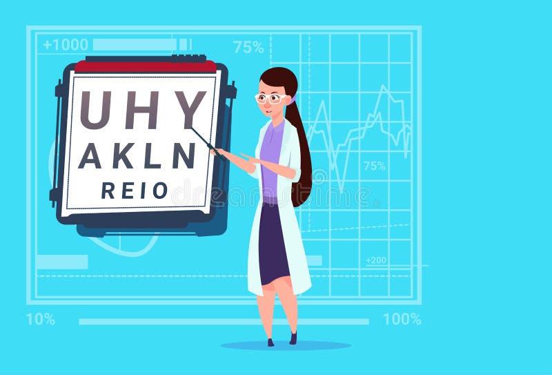 Ospedale medico femminile del lavoratore delle cliniche dell'oculista del dottore Ophthalmologist With Vision Test illustrazione di stock