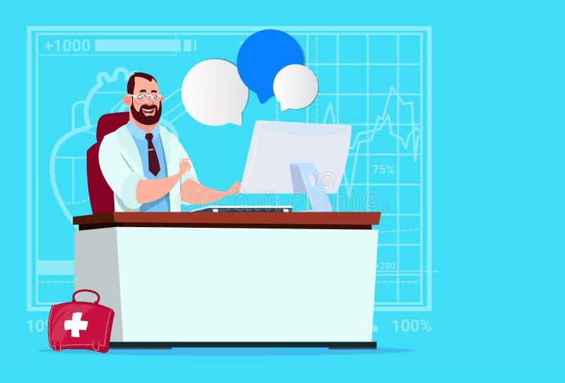 Ospedale online del lavoratore delle cliniche mediche di consultazione del dottore Sitting At Computer illustrazione vettoriale