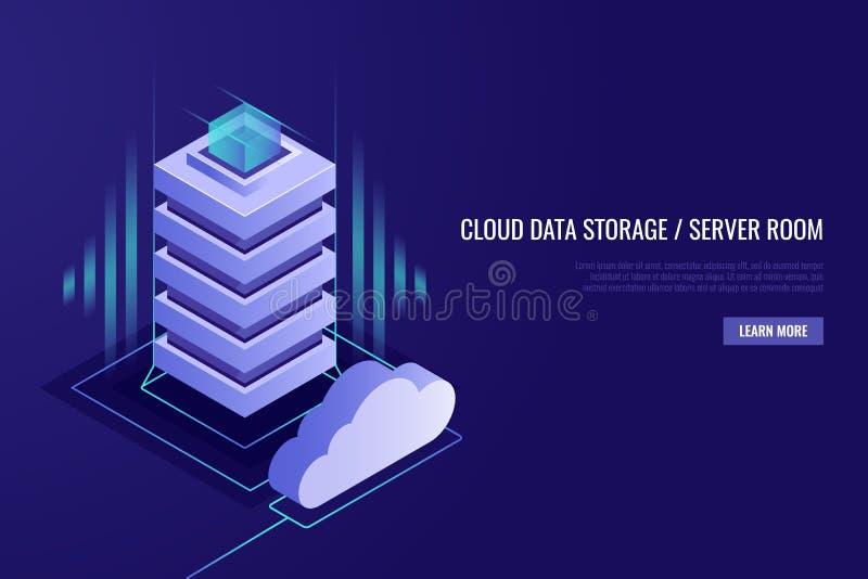 Ospitalità del concetto con archiviazione di dati della nuvola e la stanza del server Scaffale del server con la nuvola Stile iso illustrazione di stock