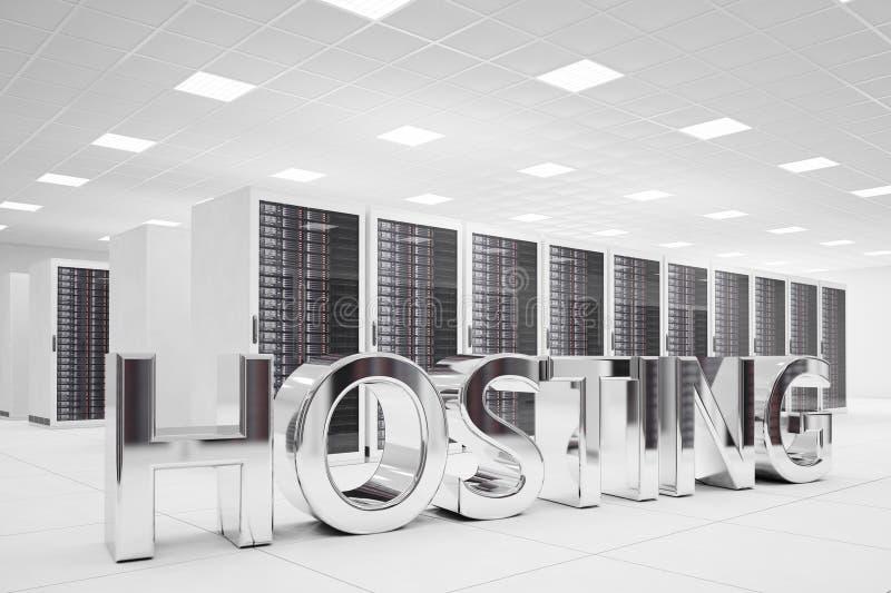 Ospitalità delle lettere nel centro dati illustrazione di stock