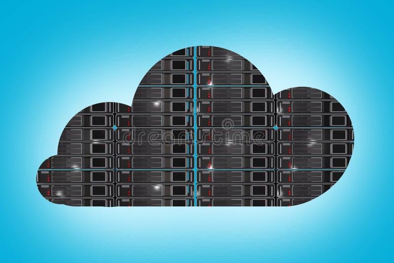 Ospitando nel concetto della nuvola illustrazione di stock