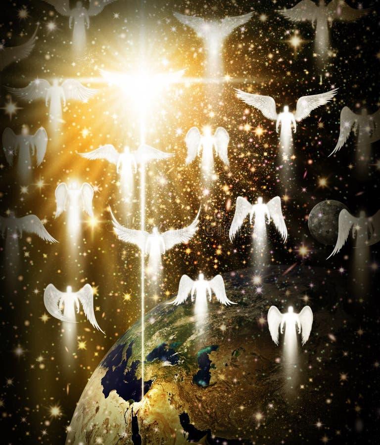 Ospite degli angeli e stella sopra terra e Betlemme royalty illustrazione gratis