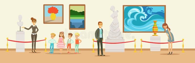 Ospiti del museo che esaminano opera d'arte classica, guida del museo che dice i bambini circa il busto di marmo, museo d'esame d illustrazione vettoriale