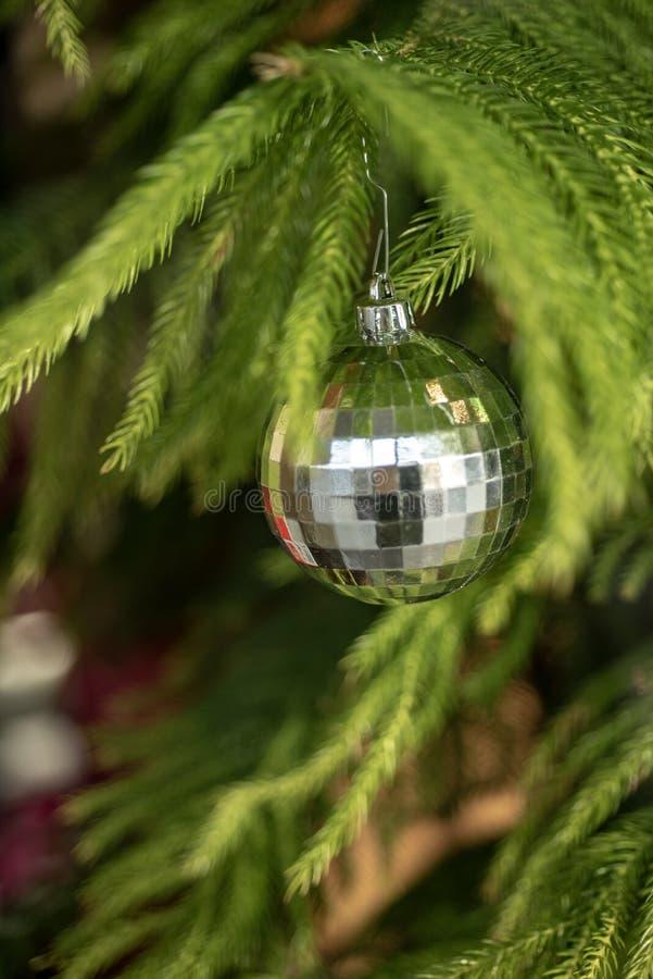 Osrebrza faceted balowego ornamentu obwieszenie od gałąź zielona jedlinowego drzewa bożych narodzeń dekoracja obrazy royalty free