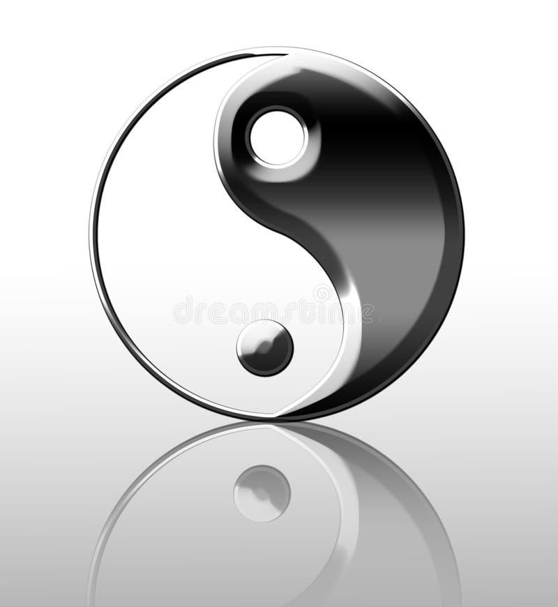 Osrebrza yin Yang symbol royalty ilustracja