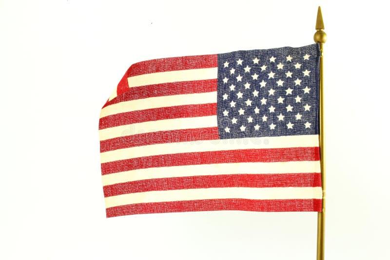 Oss eller amerikanska flaggan som vinkar i vit bakgrund arkivfoton