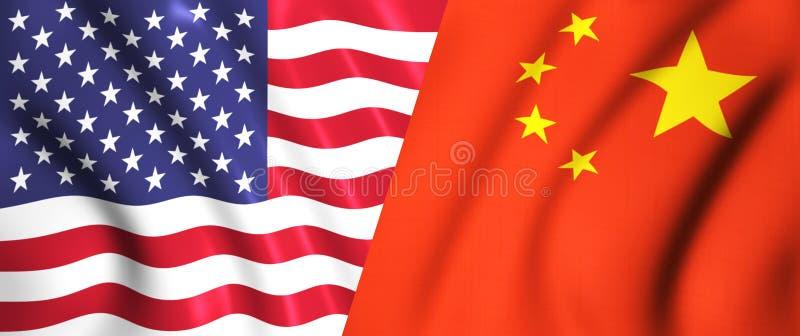 Oss flagga och kinesisk flagga som vinkar i vinden royaltyfri illustrationer