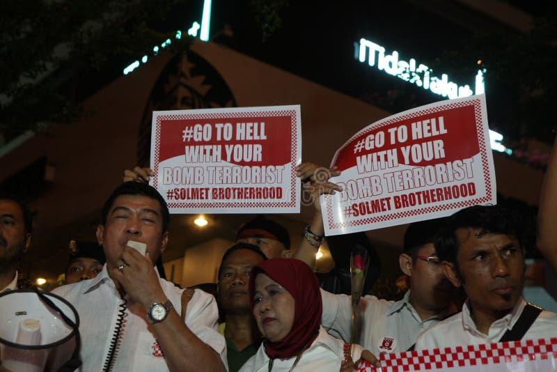 Oss inte rädd aktion efter Jakarta tryckvåg royaltyfri foto