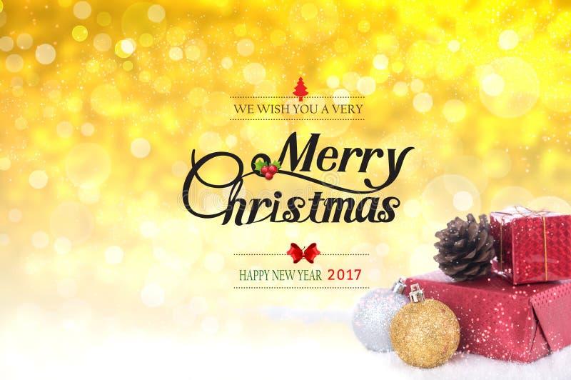 Oss med dig mycket glad jul och text för lyckligt nytt år 2017 fotografering för bildbyråer