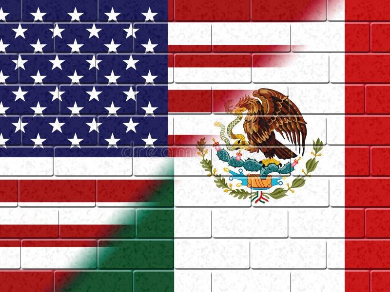 Oss Mexico gränsvägg som stoppar illegal invandring - 2d illustration royaltyfri illustrationer