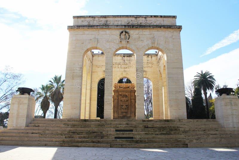 Ossario garibaldino,陵墓大厦位于gianicolo区罗马市,意大利 免版税库存图片