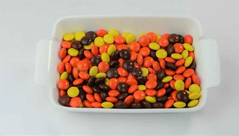 Ossequi ricoperti Candy 3 del burro di arachidi & del cioccolato fotografia stock