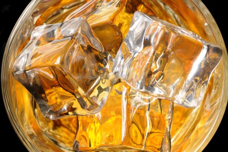 Osservando giù sul vetro del whisky fotografia stock
