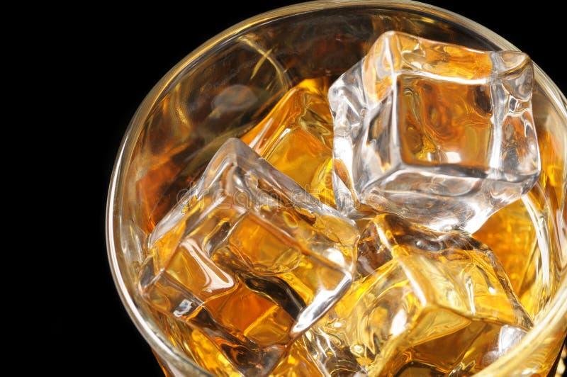 Osservando giù sul vetro del whisky fotografia stock libera da diritti