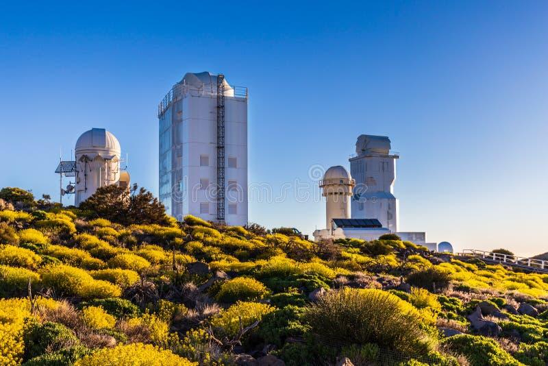 Osservatorio astronomico di Teide nell'isola di Tenerife, Spagna fotografia stock libera da diritti