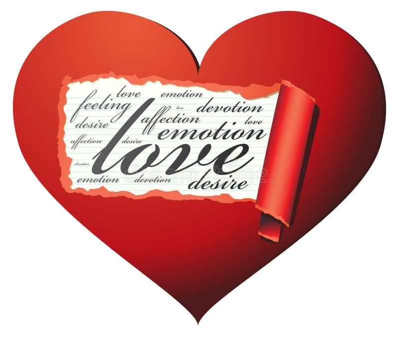 Osservi all'interno di un cuore amoroso illustrazione vettoriale