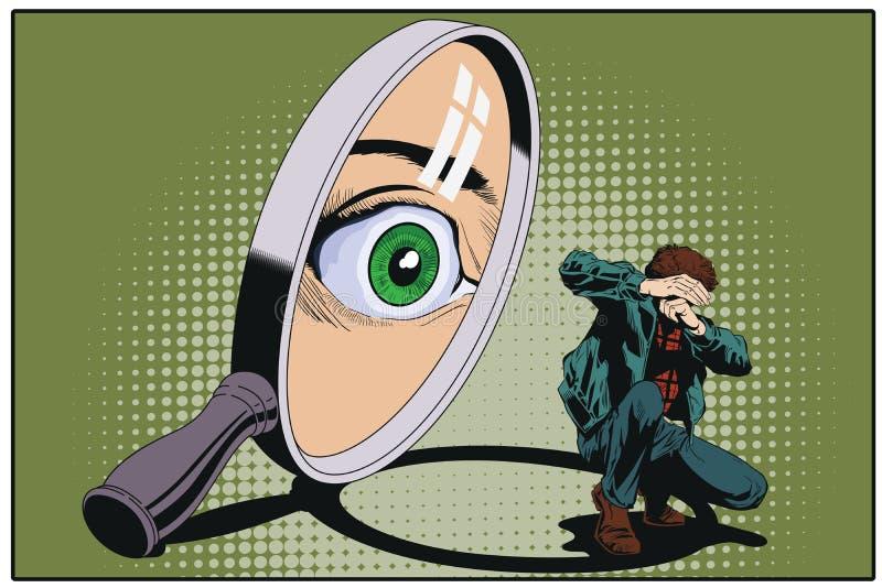 Osservi esaminando il piccolo uomo spaventato tramite la lente d'ingrandimento St royalty illustrazione gratis