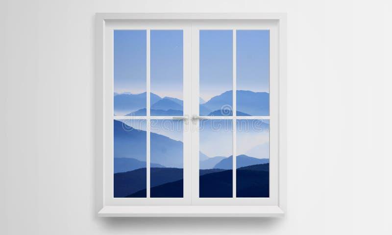 Osservi fuori la finestra il paesaggio della montagna fotografia stock libera da diritti
