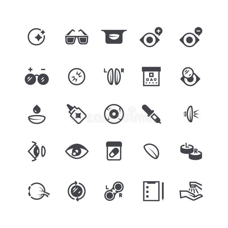 Osservi i problemi, la lente a contatto ottica e le icone degli occhiali Simboli medici di vettore della chirurgia laser del bulb royalty illustrazione gratis
