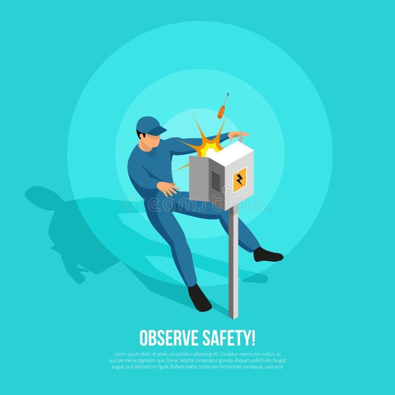 Osservi il fondo isometrico della sicurezza royalty illustrazione gratis
