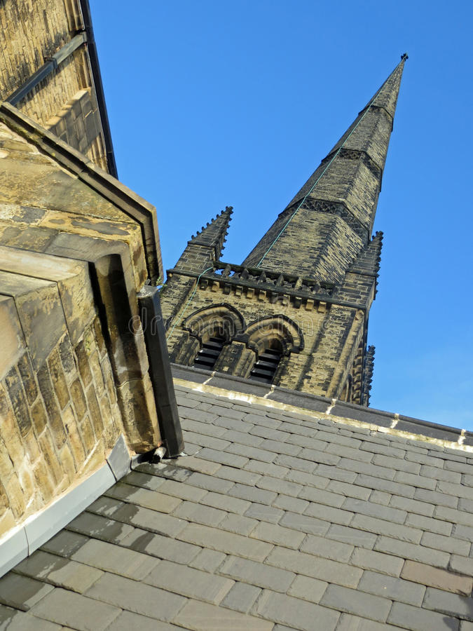 Ossett Church Spire. Ossett Church in winter looking up at the spire or steeple royalty free stock photography