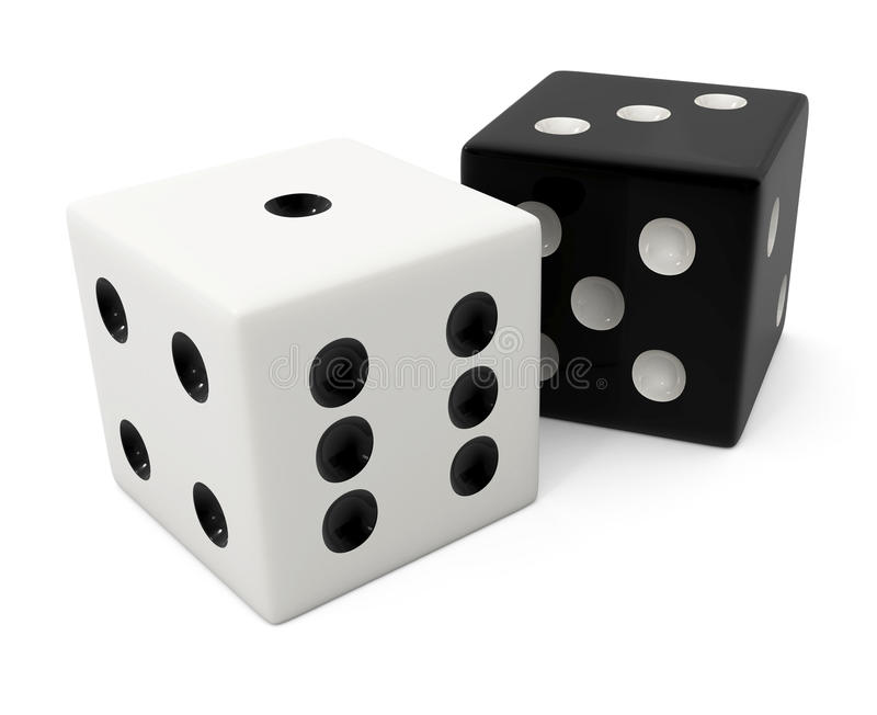 Osso branco de vencimento falsificado para o jogo dos dados ilustração do vetor