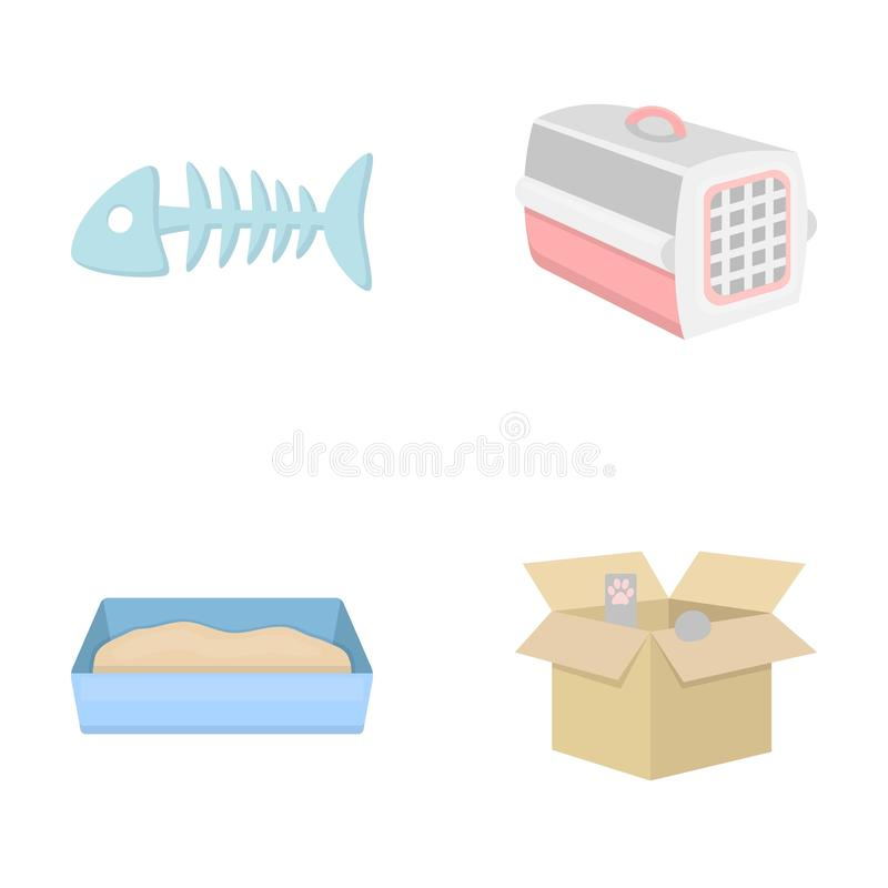 Osso de peixes, recipiente para um animal, toalete do ` s do gato, gato em uma caixa Os ícones ajustados da coleção do gato no es ilustração do vetor