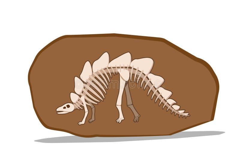 Osso de Stegosauras no fóssil da argila, vetor ilustração do vetor